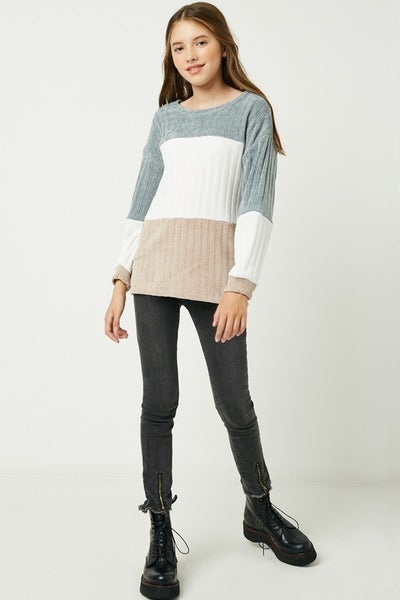 Blue/Tan Chunky Knit Color Block Sweater
