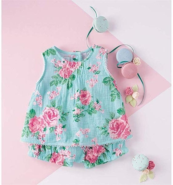 Mud Pie Garden Rose Pinafore & Bloomer Set