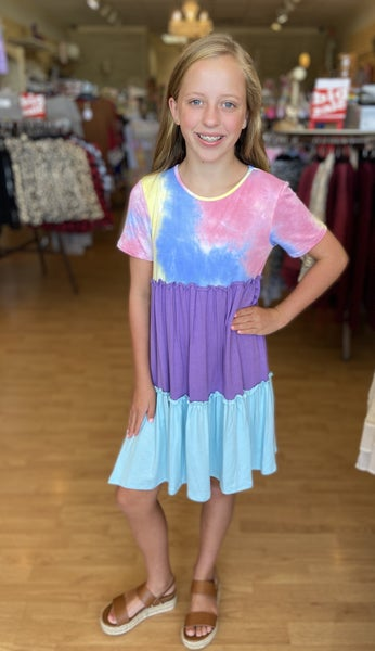 Purple Color Block Tie Dye Dress