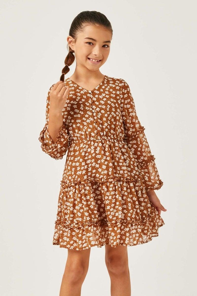 Hayden Camel Ruffled Floral Trumpet Sleeve Dress