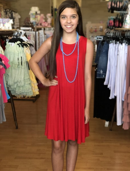 Red Sleeveless A Line Dress