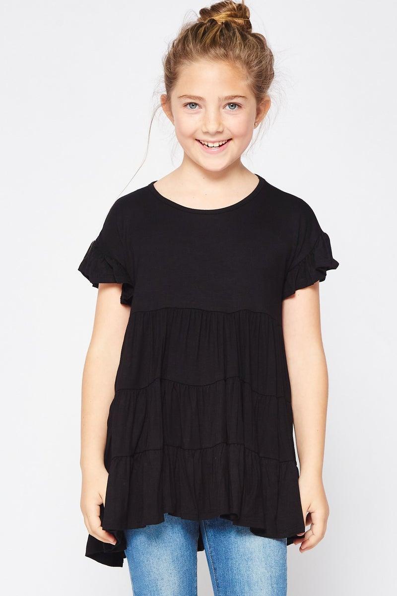 Tween Black Ruffle Sleeve Baby Doll Tunic Top