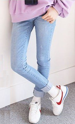 Light Denim Jeans with Cuff