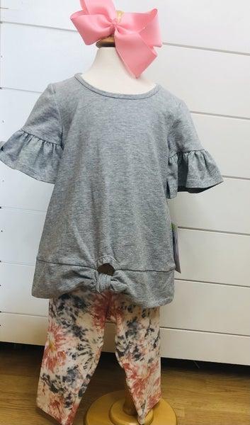 Grey Short Sleeve Tee & Tie Dye Leggings Set