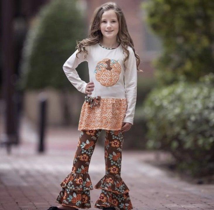 Pumpkin Patch Floral Ruffle Pants Set