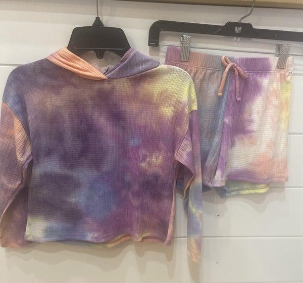 Hearts & Arrow Long Sleeve Tie Dye Shorts Set