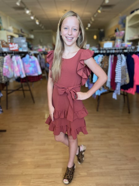 Tween Rust Ruffle Sleeve Tie Dress