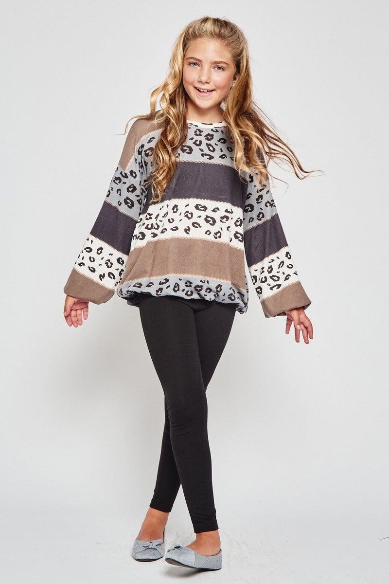 Tan/Grey Leopard Balloon Sleeve Sweater Top