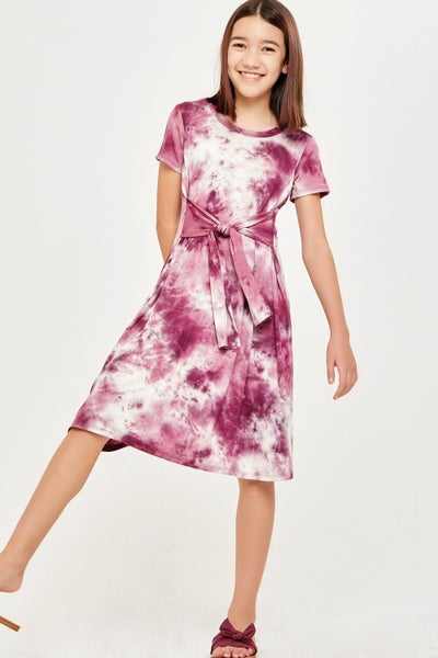 Grape Purple Tie Dye Wrap Dress