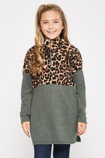 Leopard/Grey Color Block Pullover