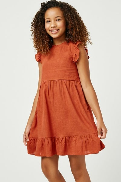 Hayden Rust Linen Ruffle Sleeve Dress