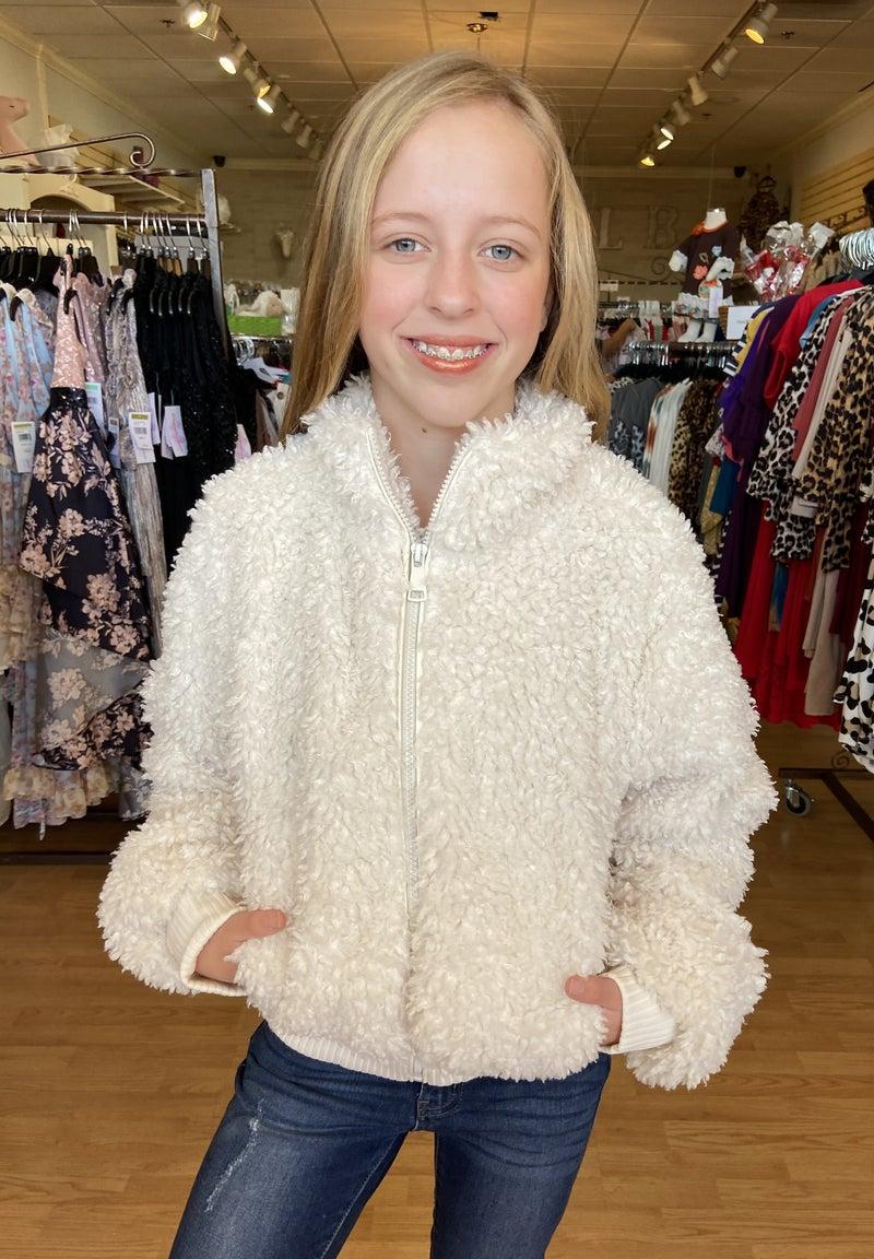 Tween Ivory Fur Bomber Jacket