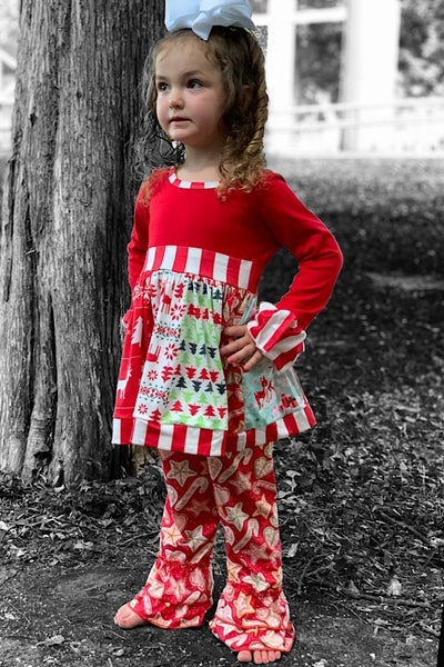 Christmas Trees & Candy Cane Pants Set