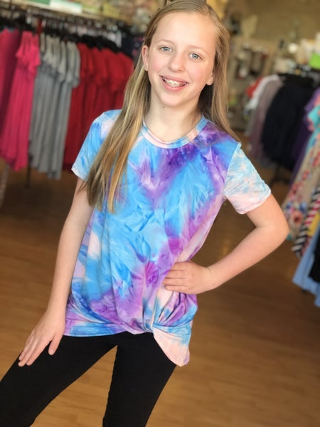Tie Dye Front Knot Top- Purple
