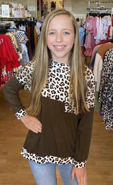 Leopard/Olive Color Block Top