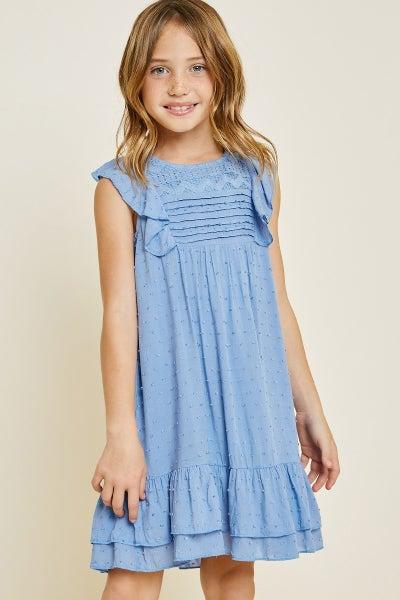 Tween Blue Dobby Ruffle A-Line Dress