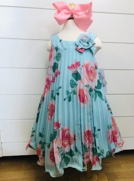 Aqua/Pink Floral Pleated Dress