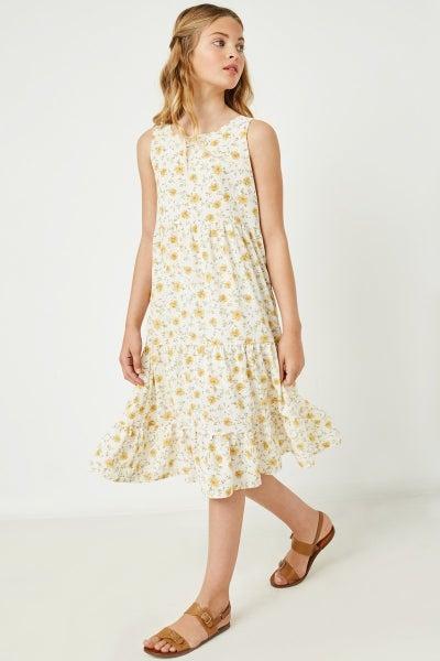 Tween Ivory/Yellow Floral Maxi Dress