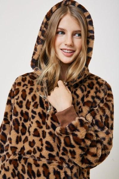 Faux Fur Leopard Hooded Jacket