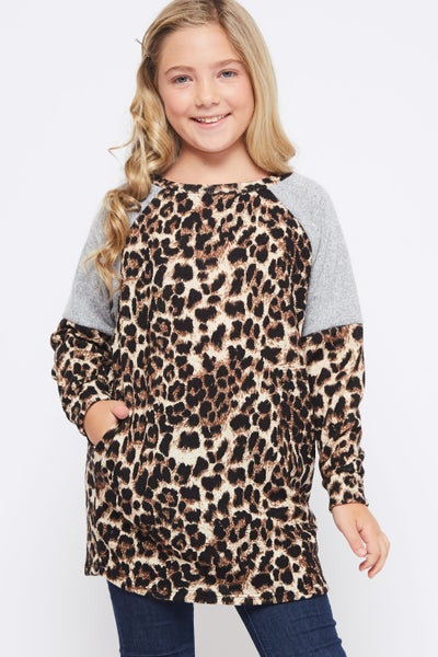 Leopard and Grey Shoulder Tunic Top