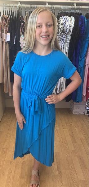 Tween Aqua Wrap Dress