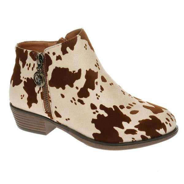 Cow Print Ankle Boots