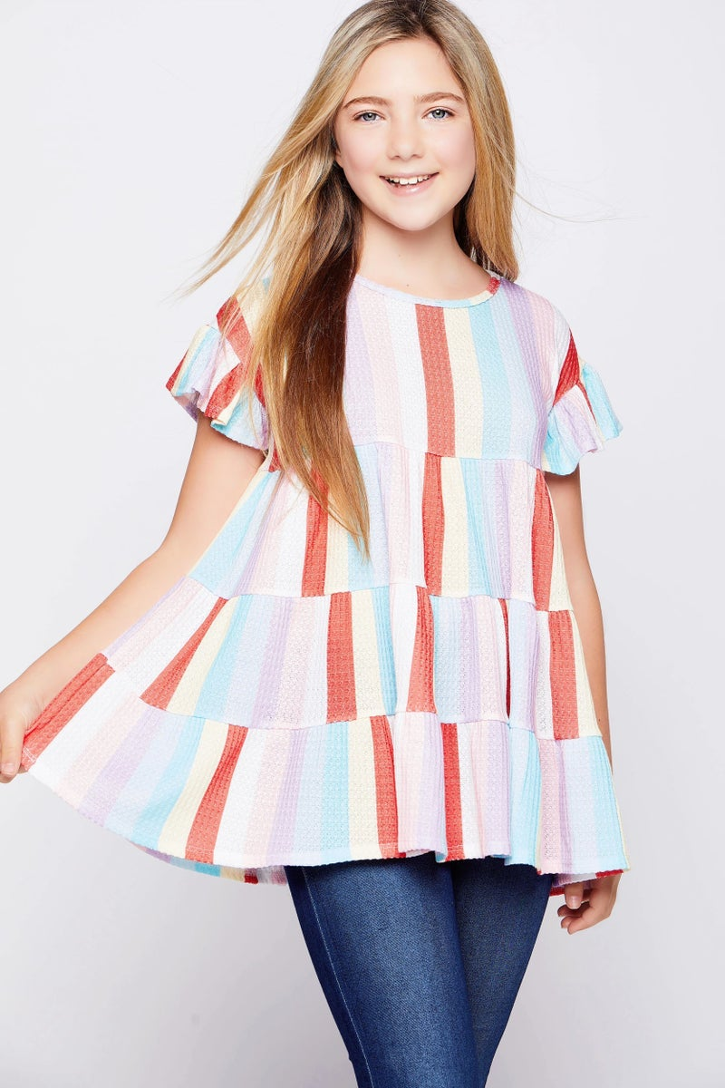 Tween Waffle Stripe Baby Doll Tunic Top- Coral