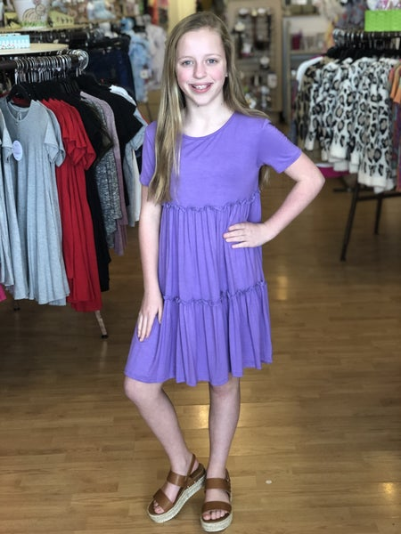 Purple Short Sleeve Babydoll Dress