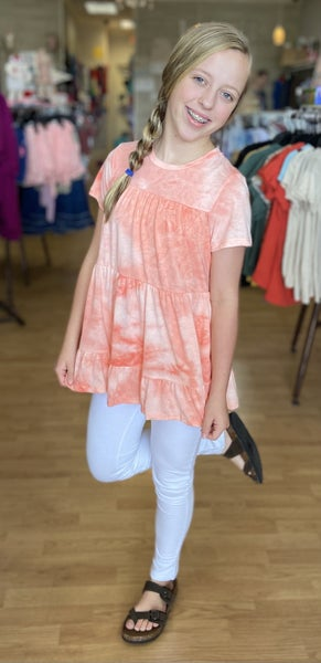 Tween Coral Tie Dye Tiered Top