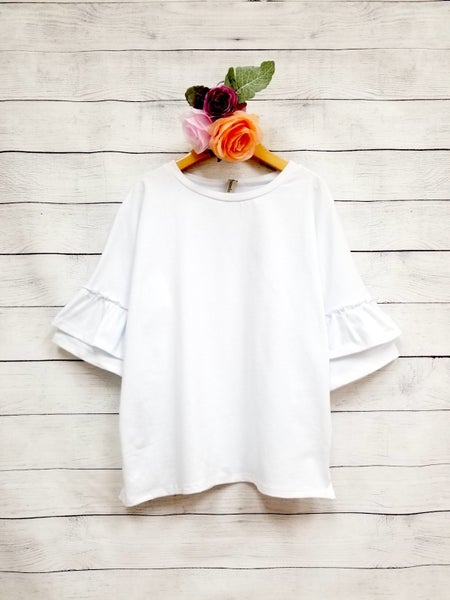 Ivory Double Ruffle Sleeve Top