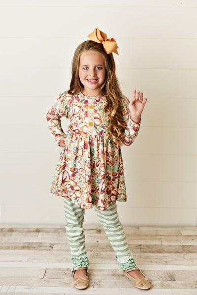 Girls Sage Green Floral Stripe Leggings Set