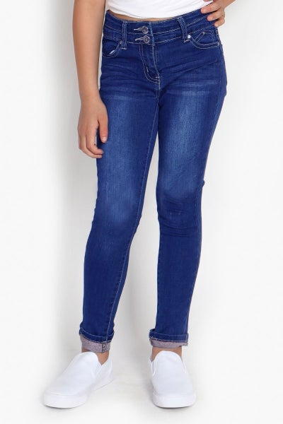 Double Button Dark Denim Jean with Cuff