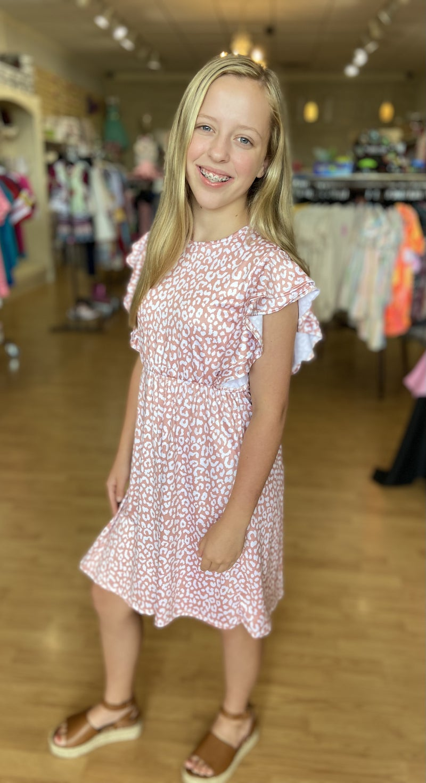 Pink Leopard Ruffle Sleeve Dress