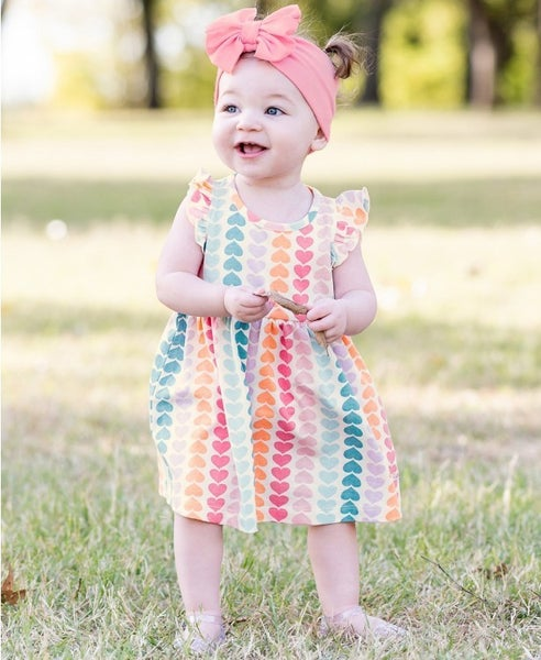 RuffleButts Rainbow Hearts Flutter Sleeve Dress