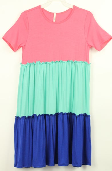 Coral, Mint, Royal Color Block Tiered Dress