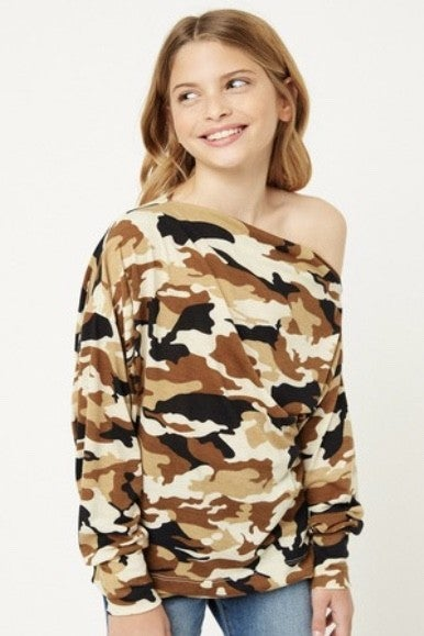 Camo Off-Shoulder Top