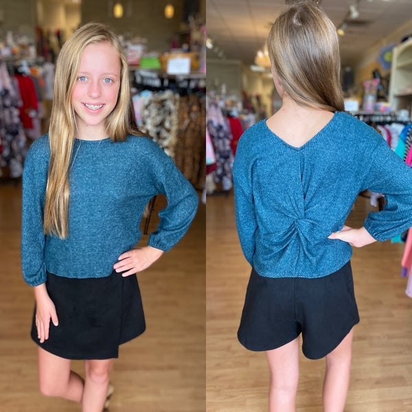 Teal Back Knot Top