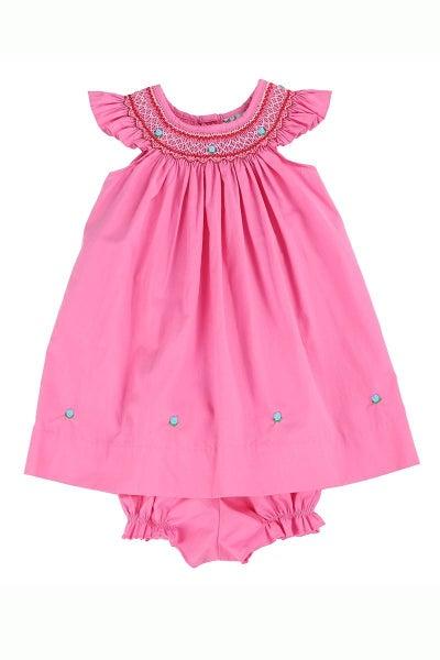 Pink Smocked Angel Sleeve Dress