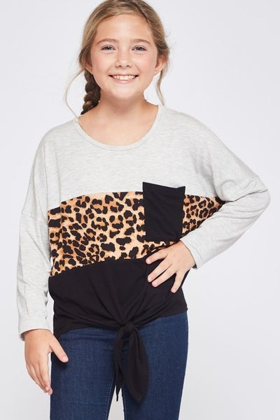 Grey, Leopard, Black Color Block Front Tie Top