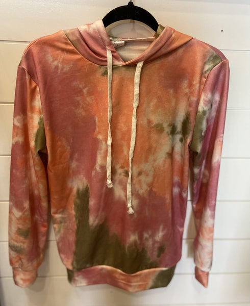Coral/Pink Tie Dye Hoodie