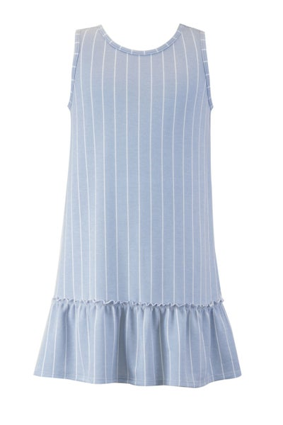 Blue Striped French Terry Drop Waist Dress