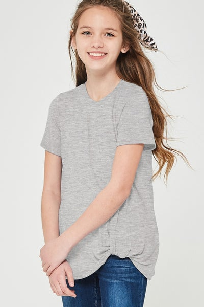 Heather Grey Short Sleeve Side Twist Top