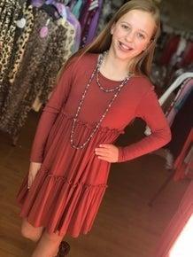 Tween Rust Baby Doll Dress