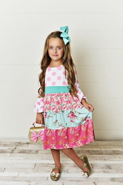 PInk Polka Dot/Floral Tiered Dress