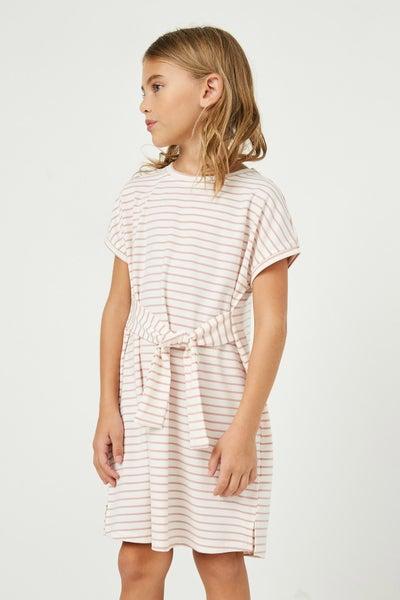 Mauve/White Stripe T Shirt Dress