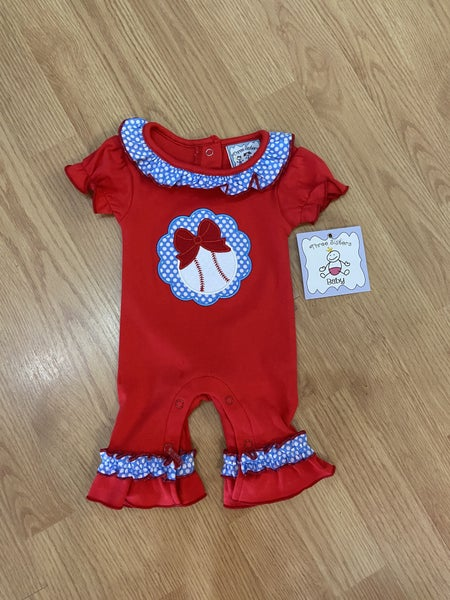 Three Sister's Girl's Baseball Ruffle Romper