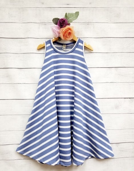 Light Blue Stripe A Line Dress