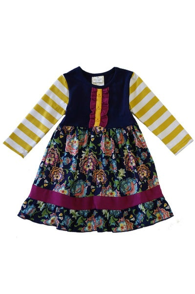 Navy/Mustard Paisley Dress