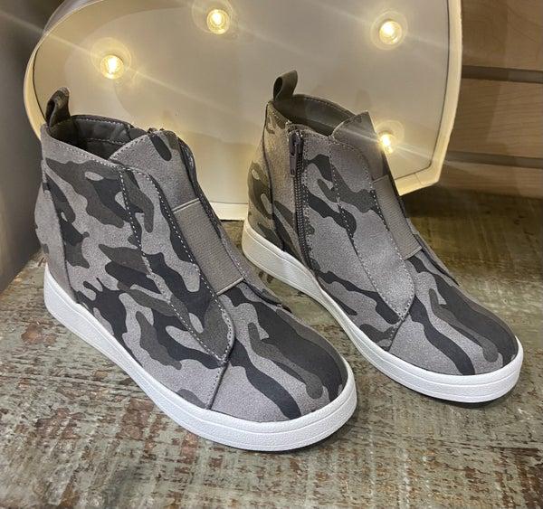 Tween MIA Grey Camo Wedge Sneaker