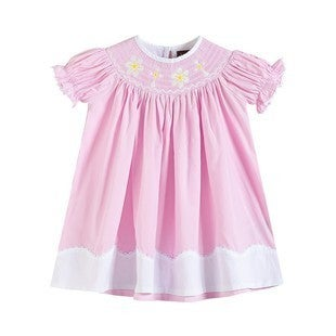 Pink Smocked Flower and Cross Dress